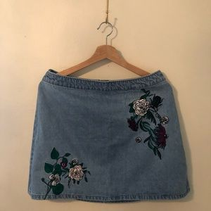 H&M Coachella Collection Embroidered Denim Skirt
